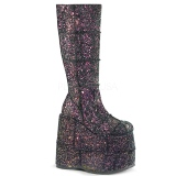 Negro Glitter 18 cm STACK-301G botas demonia - botas de cyberpunk unisex