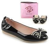 Negro IVY-09 bailarinas zapatos planos de mujer con perlas