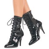 Negro Lacado 10,5 cm VANITY-1020 Planos Botines Altos Mujer