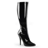 Negro Lacado 13 cm Pleaser SEDUCE-2000 Botas Media Mujer