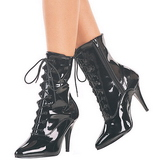 Negro Lacado 13 cm SEDUCE-1020 Planos Botines Altos Mujer