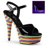 Negro Lacado 15 cm DELIGHT-609RBS Sandalias Mujer Plataforma Neon
