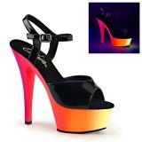 Negro Lacado 15 cm RAINBOW-209UV Sandalias Mujer Plataforma Neon