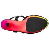 Negro Lacado 18 cm RAINBOW-309UV Sandalias Mujer Plataforma Neon