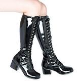 Negro Lacado 5 cm RETRO-302 Botas de Cordones Mujer