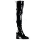 Negro Lacado 8 cm GOGO-3000 Botas mosqueteras over the knee