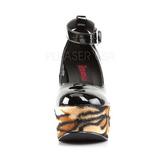 Negro Leopardo 13 cm POISON-03 Zapato Salón Cuña Alta