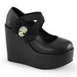 Negro Mate 13 cm POISON-02 Zapatos de cuña para mujer