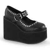 Negro Mate 14 cm SWING-03 Zapato Salón Cuña Alta