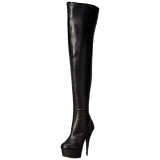 Negro Mate 15,5 cm DELIGHT-3000 over knee botas altas con tacón