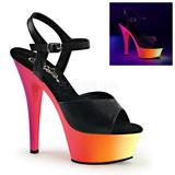 Negro Mate 15,5 cm RAINBOW-209UV Sandalias Mujer Plataforma Neon
