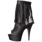 Negro Mate 15 cm DELIGHT-1019 botines con flecos de mujer tacón altos
