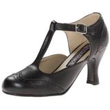 Negro Mate 7,5 cm retro vintage FLAPPER-26 zapatos de salón tacón bajo