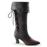 Negro Mate 7 cm VICTORIAN-128 Botas de Cordones Mujer
