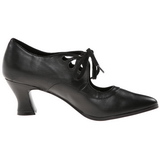 Negro Mate 7 cm retro vintage VICTORIAN-03 zapatos de salón tacón bajo