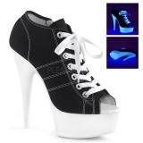 Negro Neon 15 cm DELIGHT-600SK-01 Zapatos de lona con tacón