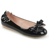 Negro OLIVE-03 bailarinas zapatos planos con corbata de moño