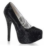 Negro Piedras Strass 14,5 cm TEEZE-06R Plataforma Zapato Salón