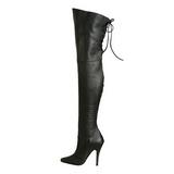 Negro Piel 13 cm LEGEND-8899 Largas Botas Altas Del Muslo
