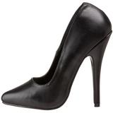 Negro Piel 15 cm DOMINA-420 zapatos puntiagudos con tacón de aguja