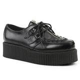 Negro Piel 5 cm CREEPER-440 Zapatos de Creepers Hombres Plataforma
