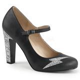 Negro Polipiel 10 cm QUEEN-02 zapatos de salón tallas grandes