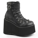 Negro Polipiel 11,5 cm KERA-21 lolita botines cuña alta