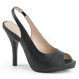 Negro Polipiel 12,5 cm EVE-04 sandalias tallas grandes