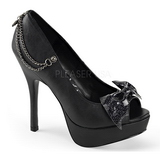Negro Polipiel 13,5 cm PIXIE-16 Góticos Zapatos de Salón