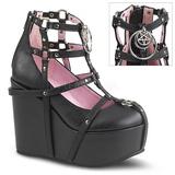 Negro Polipiel 13 cm POISON-25-1 lolita botines cuña alta