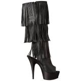 Negro Polipiel 15 cm DELIGHT-2019-3 botas con flecos de mujer tacón altos