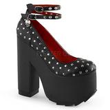 Negro Polipiel 16 cm CRAMPS-06 Góticos Zapatos de Salón