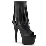 Negro Polipiel 18 cm ADORE-1019 botines con flecos de mujer tacón altos