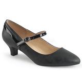 Negro Polipiel 5 cm FAB-425 zapatos de salón tallas grandes