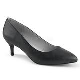Negro Polipiel 6,5 cm KITTEN-01 zapatos de salón tallas grandes