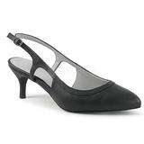Negro Polipiel 6 cm KITTEN-02 zapatos de salón tallas grandes