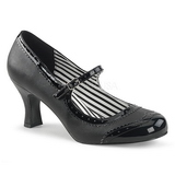 Negro Polipiel 7,5 cm JENNA-06 zapatos de salón tallas grandes