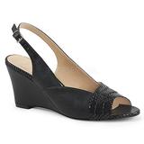Negro Polipiel 7,5 cm KIMBERLY-01SP sandalias tallas grandes