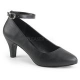 Negro Polipiel 8 cm DIVINE-431W Zapatos de Salón para Hombres