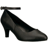 Negro Polipiel 8 cm DIVINE-431W zapatos de salón tacón bajo