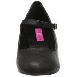 Negro Polipiel 8 cm DIVINE-440 Calzado de Salón Planos Tacón