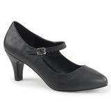 Negro Polipiel 8 cm DIVINE-440 Zapatos de Salón para Hombres