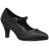 Negro Polipiel 8 cm DIVINE-440 zapatos de salón tacón bajo