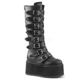Negro Polipiel 9 cm DAMNED-318 plataforma botas de mujer con hebillas