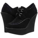 Negro Polipiel CREEPER-302 zapatos de cuñas creepers mujer