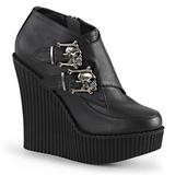 Negro Polipiel CREEPER-306 zapatos de cuñas creepers mujer