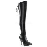 Negro Polipiel EVE-312 Botas altas hasta el muslo de ancho especial 12,5 cm