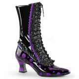 Negro Purpura 7 cm VICTORIAN-122 Botines de Cordones Altos Mujer