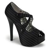 Negro Rayado 14,5 cm TEEZE-23 Zapatos de tacón altos mujer