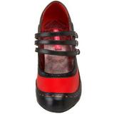 Negro Rojo 11,5 cm rockabilly TEMPT-10 Zapatos de tacón altos mujer